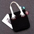 AD118 Negrita bicolor blanco y negro mano huevo algodón shopper Lienzo mujer chica virgen bolsa de asas del bolso negro 0.4