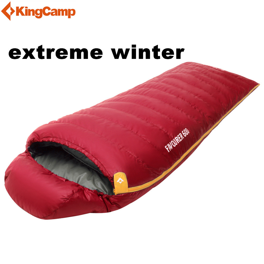 KingCamp Winter Sleeping Bag Cold Temperature Sleeping Bags 220cm Duck Down Filling for Camping Hiking kingcamp favourer 450mix envelope 32 degree f 0 degree c down spliced micro fiber sleeping bag with hood for camping
