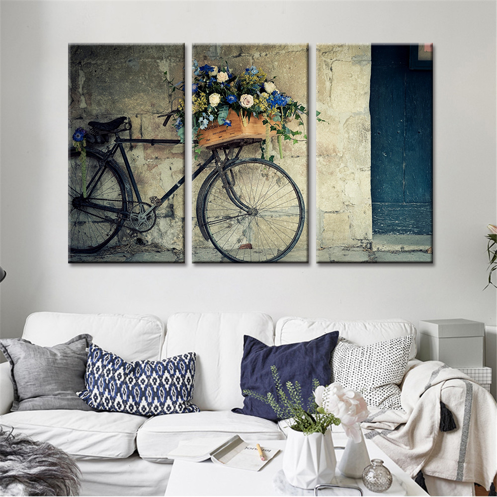 No Frame 3 Pieces Decorative Spray Painting Bike Flowers Nordic ...