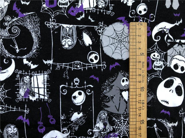 lycra knit cotton sewing fabric the nightmare before christmas terror thriller zombie diy handmade material patchwork - How Was The Nightmare Before Christmas Made