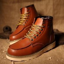 Autumn Winter Men Boots Vintage Style Men Casual Fashion High-Cut Lace-up Warm Hombre Ankle Boot Warm Men's Snow Shoe Work Julx3