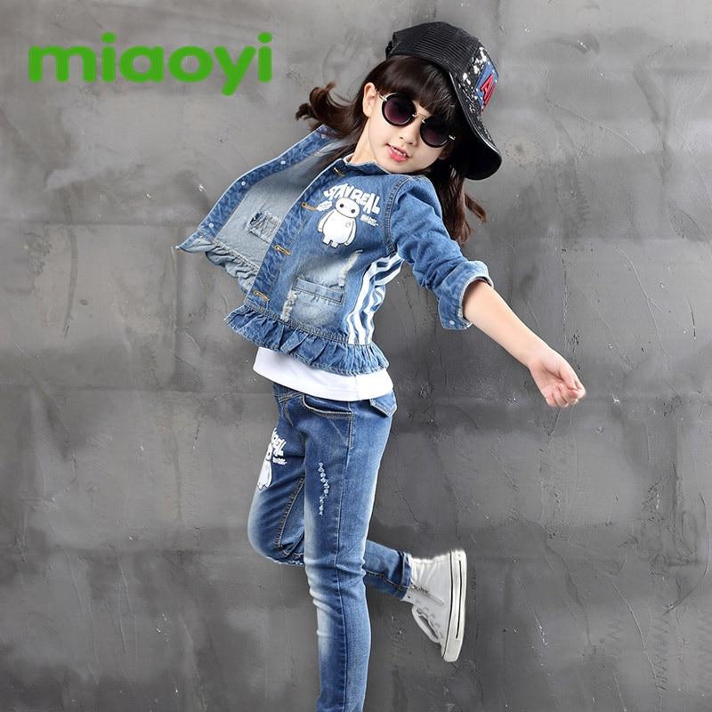 f5d9c97ed36 Girls Long Sleeve T-Shirt Pants cowboy Set Children s Dresses Big Girls  Jeans Three Clothes