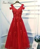 C V Red Color Cap Sleeve Fashion Women Evening Dresses Middle Long V Neck Lace Appliques