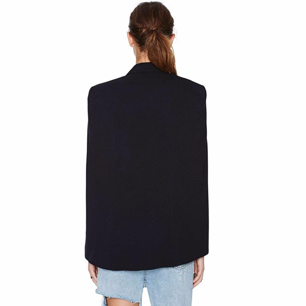 2017 Fashion Cloak Cape Blazer Women Coat Black Lapel Split Long Sleeve Outerwear Pockets Solid Casual Suit Jacket Workwear XL