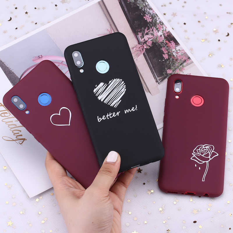 Para samsung s8 s9 s10 s10e s20 mais nota 8 9 10 a7 a8 borgonha coração rosas lágrimas doces silicone capa de telefone fundas