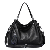 Fashion Winter Women Real Genuine Leather Causual Women Handbag Large Shoulder Bag Tassel Ladies Casual Tote