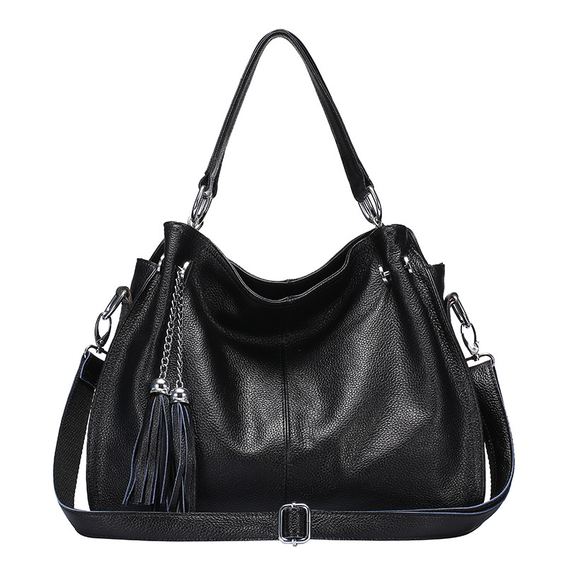 Fashion winter Women Real Genuine Leather Casual Women Handbag Large Shoulder Bag tassel Ladies casual Tote Satchels Purse Bolsa women fashion tassel pu leather handbag shoulder bag small tote ladies purse comfystyle