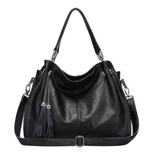 Fashion winter Women Real Genuine Leather Casual Women Handbag Large Shoulder Bag tassel Ladies casual Tote Satchels Purse Bolsa(China)