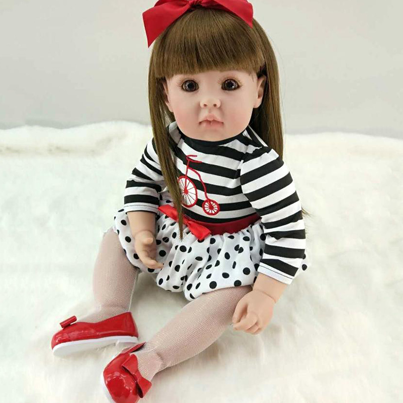 2017 Fake Baby Doll Silicone Cotton Body Doll Reborn Babies Soft Chinese Dolls Body Alive Princess Doll for Girl Brinquedos adorable soft cloth body silicone reborn toddler princess girl baby alive doll toys with strap denim skirts pink headband dolls