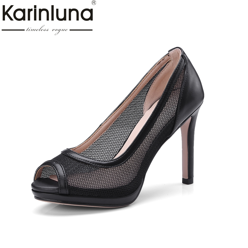 Karinluna Top Quality Big Size 34-43 Peep Toe Thin High Heels Air Mesh Summer Shoes Women Pumps Sexy Party Shoes Woman big size 40 41 42 women pumps 11 cm thin heels fashion beautiful pointy toe spell color sexy shoes discount sale free shipping