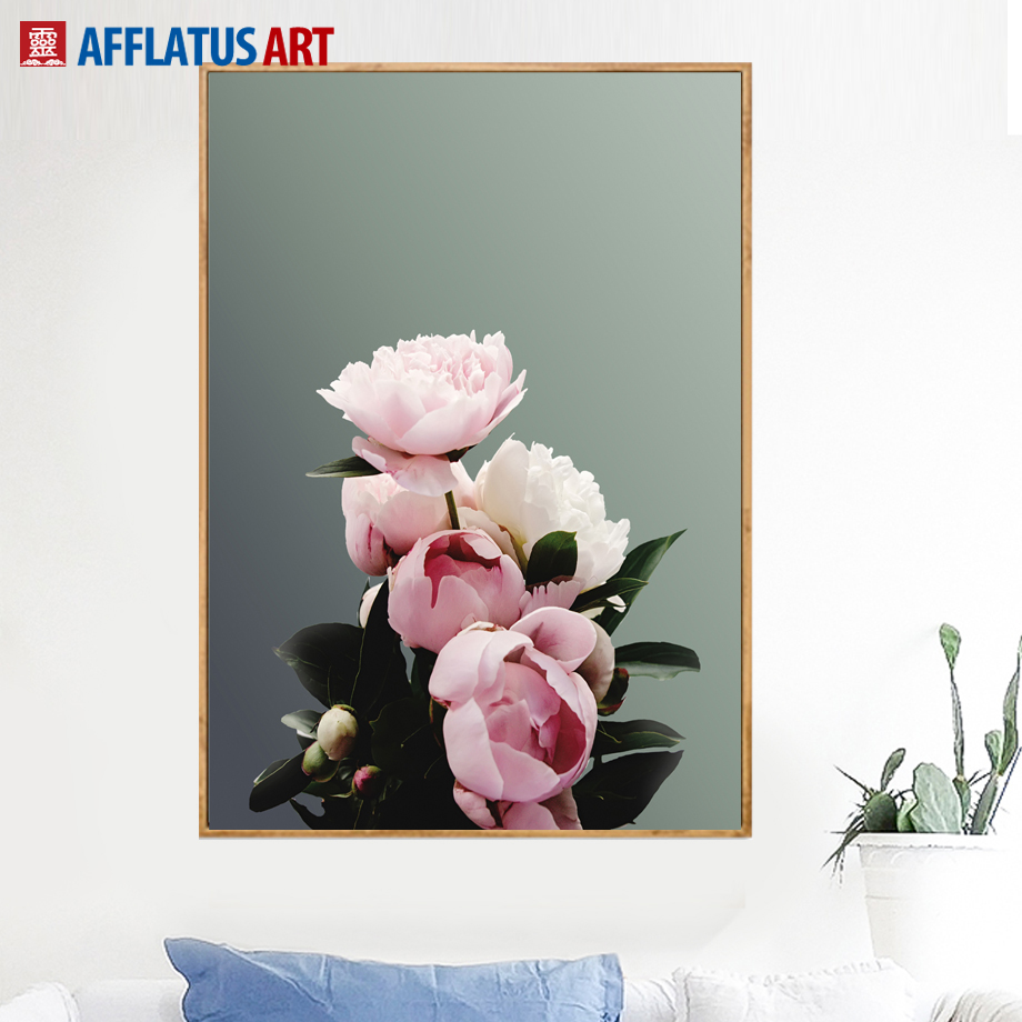 Tulip Rose Wall Art Painting For Kitchen Room Golden: AFFLATUS Modern Classic Pink Peony Canvas Painting Wall