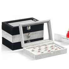 Best-selling fashion high quality velvet square jewelry box simple storage bag ring / 15 grid
