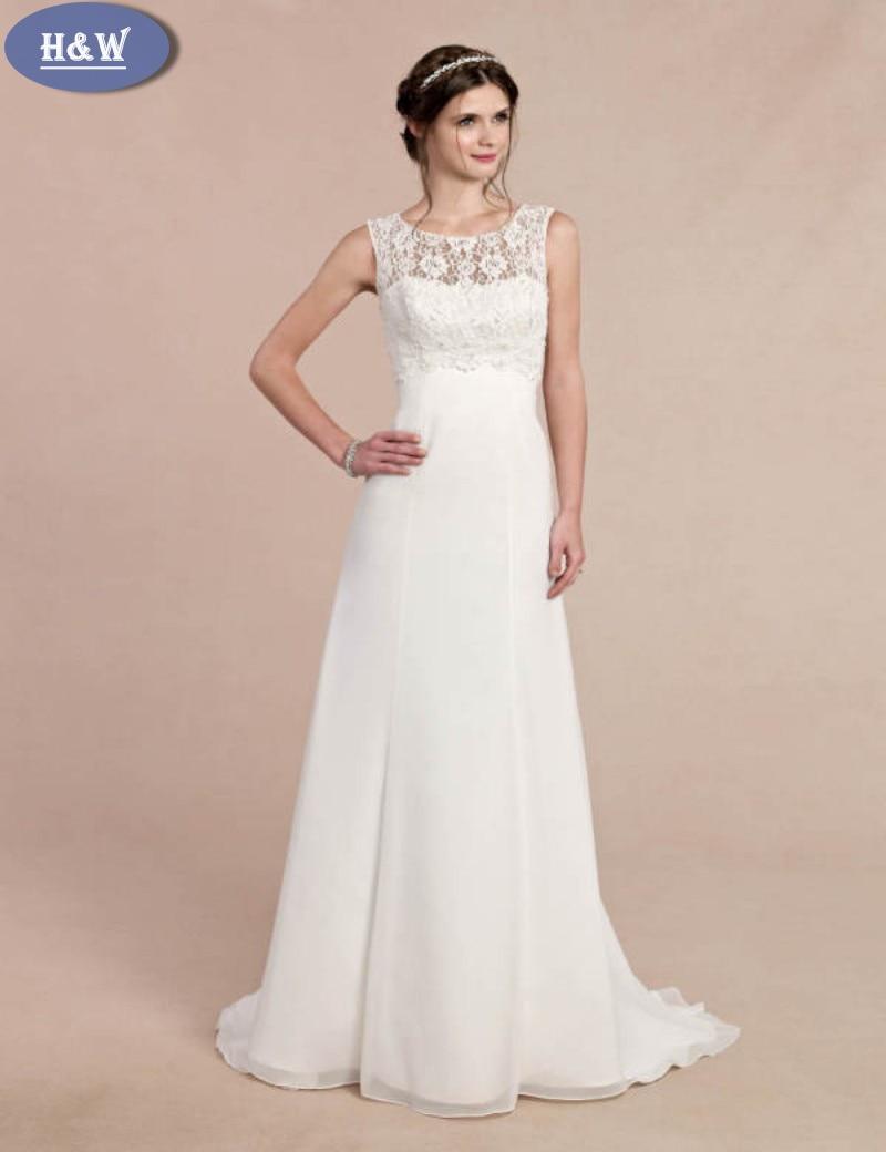 Vestido Casamento Sexy Stehkragen Spitze Chiffon Brautkleid Ga2226