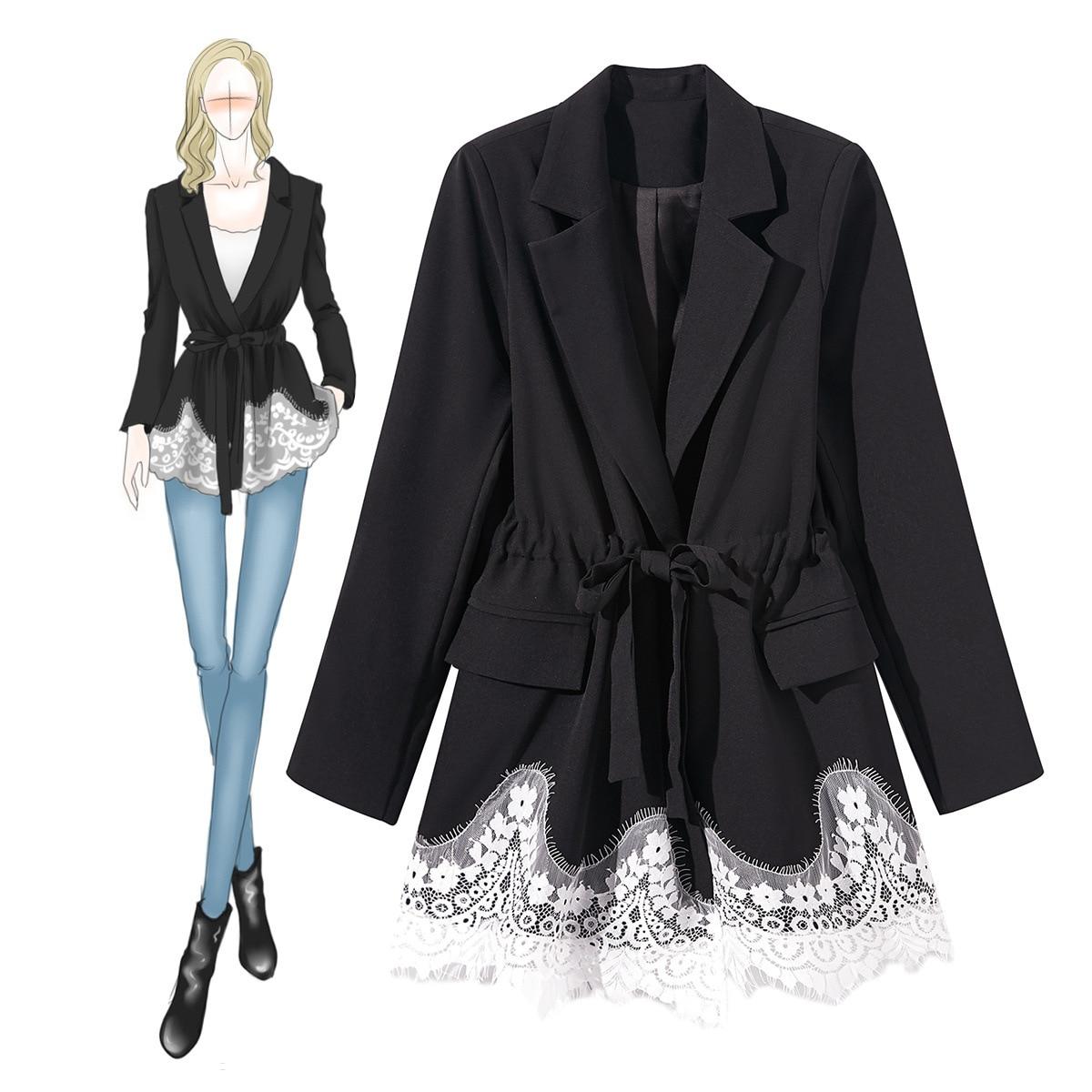 Femmes Lady Blanc Noir Automne Office Patchwork Cordons Mode Blazers De 2018 Blazer Taille Dentelle Nouveau HxwrHpq