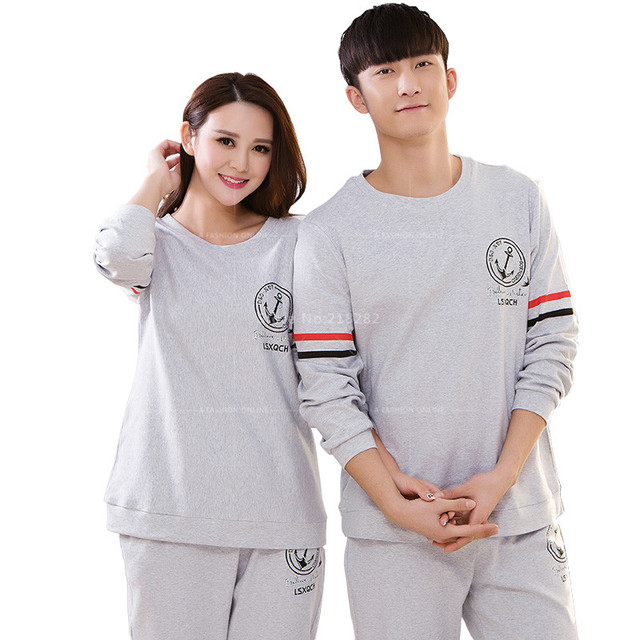 Two Piece Set Cotton Men  Women Grey Sleepwear Lovers Pajamas Sets Sleeping  Pajamas set for fc0321102