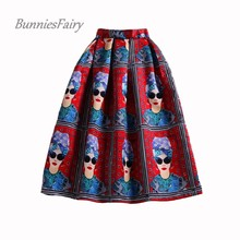 BunniesFairy Summer Style Ladies Fashion Modern Beauty Queen Character Print High Waist Pleated Midi Skirt Saia Longa Plissada