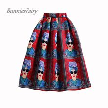 BunniesFairy Summer Style Ladies Fashion Modern Beauty Queen Character Print High Waist Pleated Skirt Saia Longa Plissada(China)