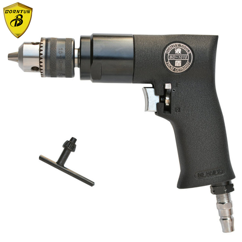Borntun 1.5-10mm Low Speed Pneumatic Air Drill Bore with F-R Switch Pneumatic Drill Bore Drilling Boring Woodwork Metalwork Tool high quality 3 8 10mm reversible pneumatic drill tool air drilling tool