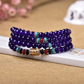 supply of male and female counter multi ring bracelet with six purple chalcedony mantra 108 Pearl crystal jewelry sales