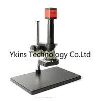 HD 13MP HDMI VGA Digital Industrial Video Inspection Microscope Camera Kit + 180X / 300 C Lens + 144 LED Light + Desktop Stand