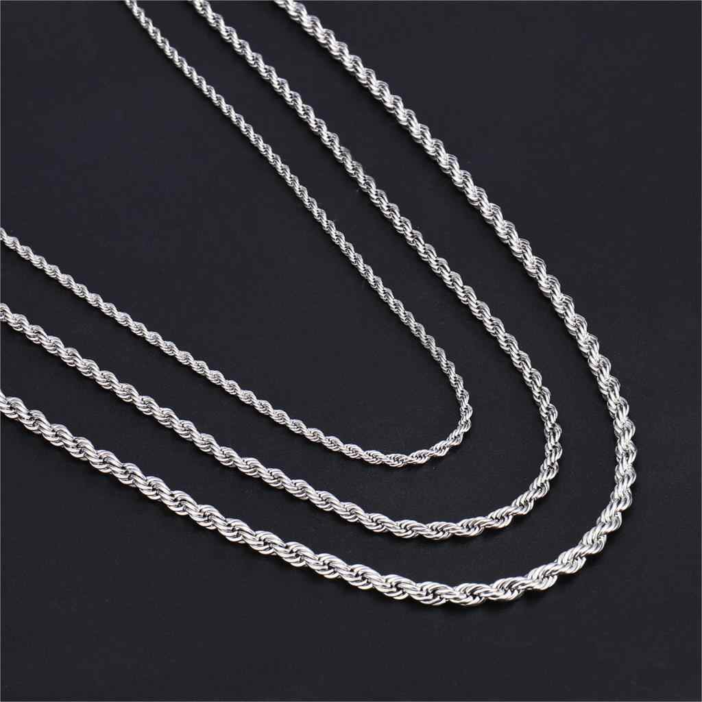 HIP Hop Width 3mm/4mm/5mm Silver Rope Chain Twisted 316L Stainless Steel Necklace Men Necklaces For Women Men Jewelry