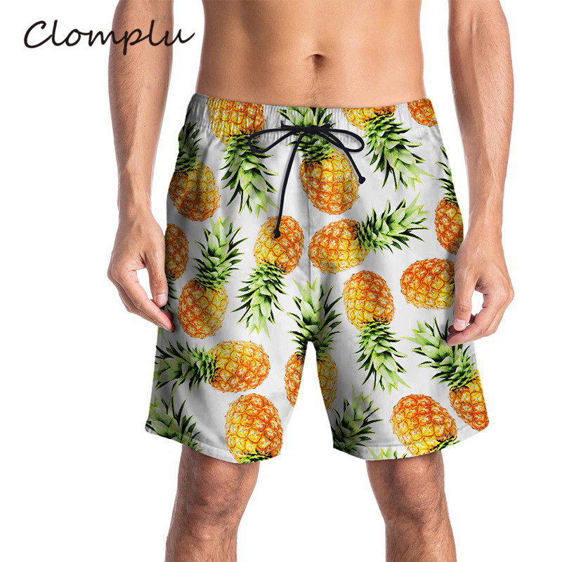 Clomplu Men's Beach Shorts Pineapple Printed Waterproof Shorts Men Elastic Board Shorts Summer Swim Trunks Quick Dry Siwmwear