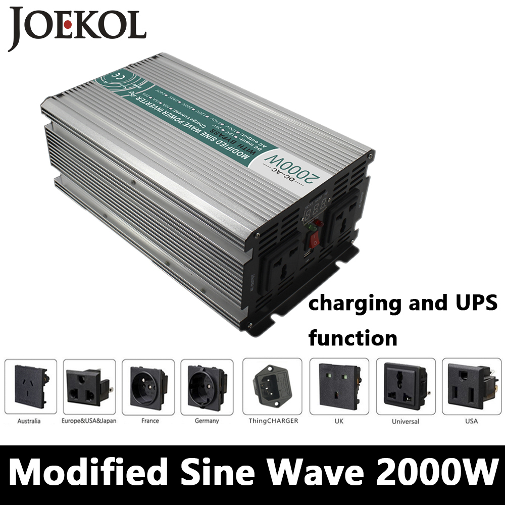 Full Power 2000W Modified Sine Wave Inverter,DC 12V/24V/48V To AC110V/220V,off Grid Solar Inverter With Battery Charger And UPS full power 2000w modified sine wave inverter dc 12v 24v 48v to ac110v 220v off grid solar inverter with battery charger and ups