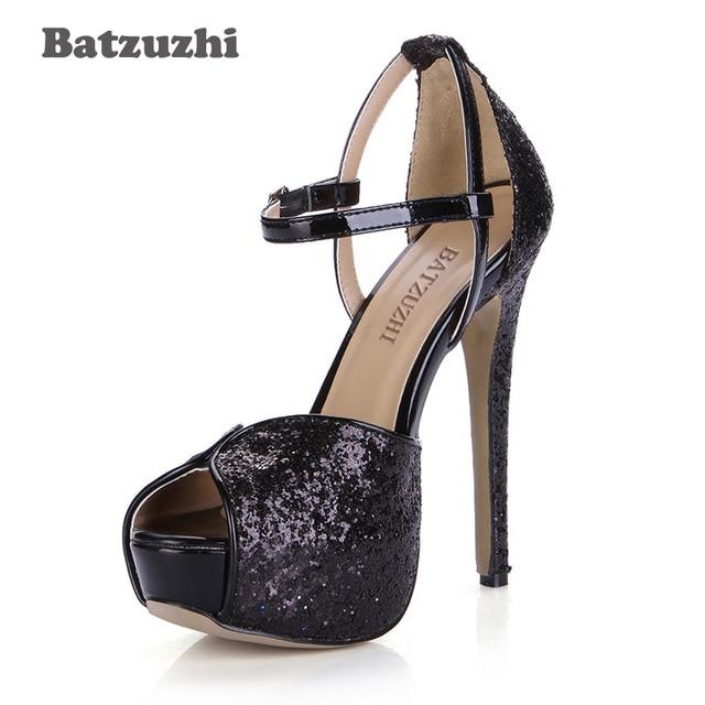 1844cbde78b0 Batzuzhi Super Star Big Size 35-40 Female Women Pumps Shoes 14cm High Heel Platform  Shoes Women Black Glitter Pumps Ladies