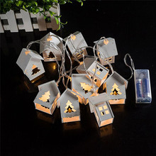 Battery Operation Wooden Christmas Tree String Lights With 10 LED House Shape Christmas Lights For Outdoor Decorations