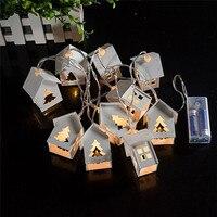 Litake 10 ledハウス形状クリスマスライトバッテリー操作木製クリスマスツリーの文字列ライト用屋外装飾