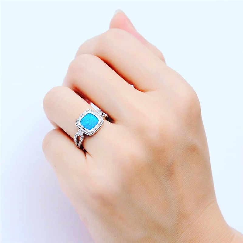 Boho หญิงสีฟ้าโอปอลแหวน Boho 925 เงินสเตอร์ลิงที่เต็มไปด้วยแหวนสัญญารักหมั้นแหวน