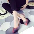 Модные Женские туфли Мелкой Тонкие каблуки 2017 Весна Лето Корейский стиль Острым Носом туфли на Высоком каблуке Красный Черный и синий цвета