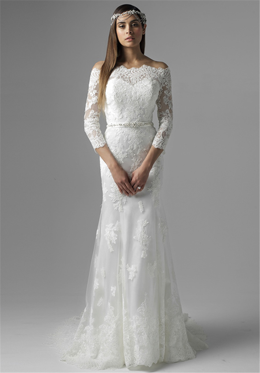 Clic Spanish Style Lace Lique Off The Shoulder Three Quarter. Spanish Lace  Wedding Dresses ... 1289a64f6675