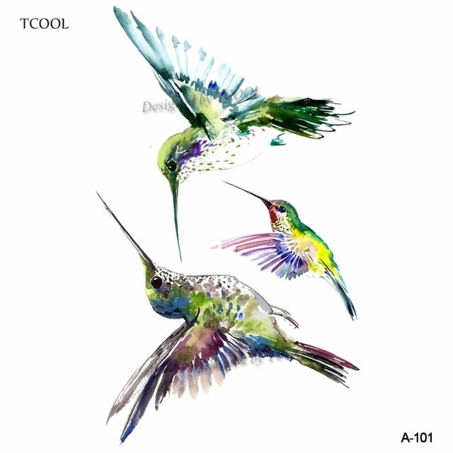 TCOOL Watercolor Hummingbird Temporary Fake Tattoo Body Art Sticker ...