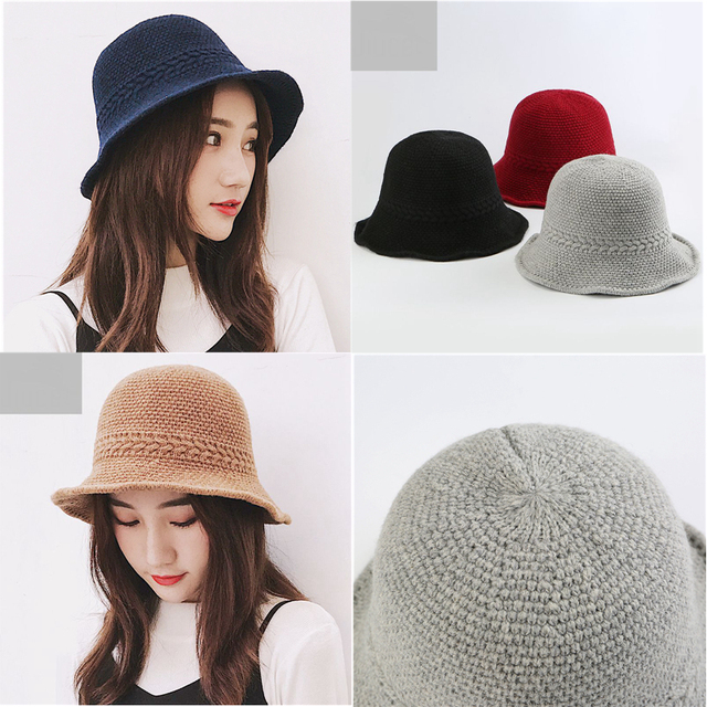 Winter Knitted Wool Hat For Women Solid Foldable Caps Female Thick Wool  Bucket Hats Fishing Outdoor Spring Women Hats LXK126 dc66b349278