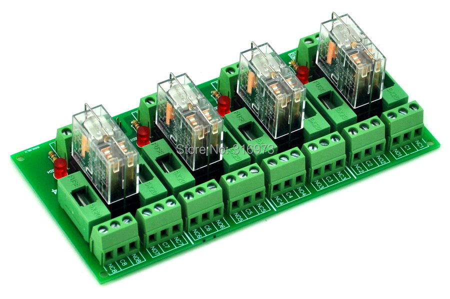Fused 4 DPDT 5A Power Relay Interface Module, G2R-2 5V DC Relay.