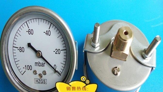 Бесплатная доставка 60 мм Задняя Соединительная 1/4 Нержавеющая сталь вакуумный манометр, давление 100mba 0, 5 шт./лот пневматические детали