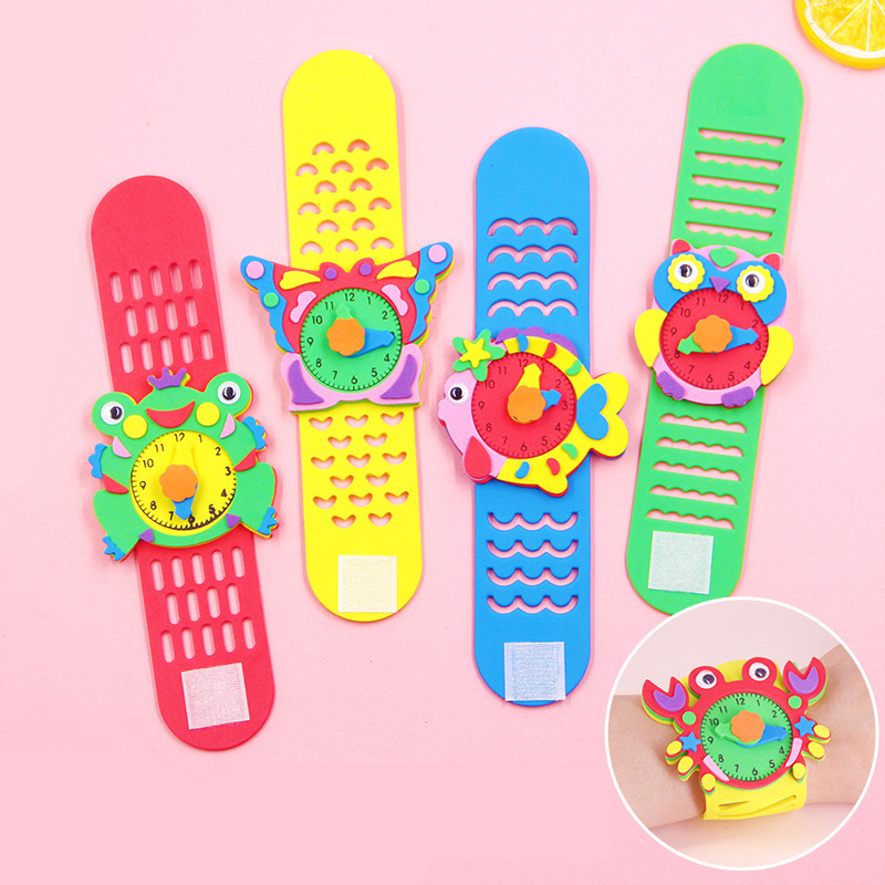 Handmade Watch Toys Kindergarten Children DIY Pasted EVA Watch Making Materials Educational Puzzle Toys