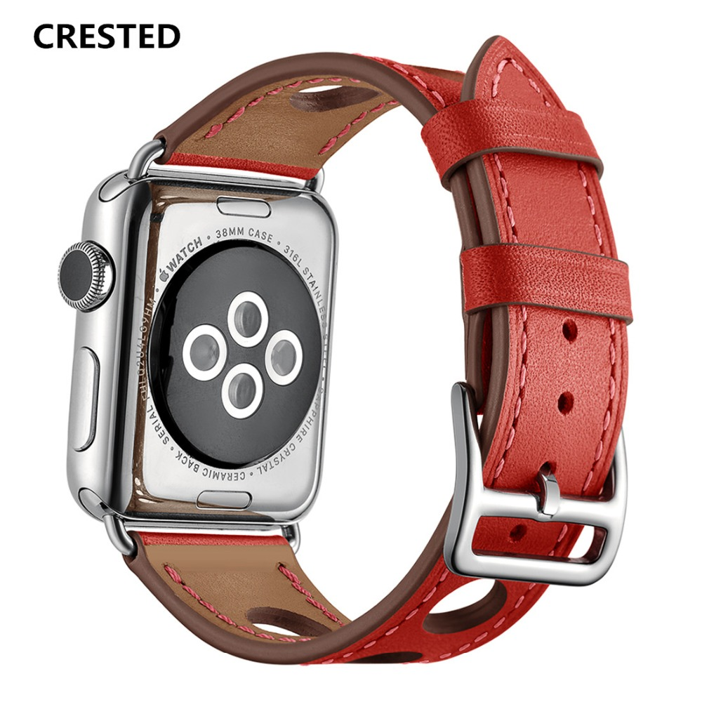 CRESTED Leather strap For Apple Watch band 42mm/38mm iwatch series 3 2 1 single tour wrist bands bracelet watchband correa belt crested woven nylon strap for apple watch band 42mm 38mm leather iwatch series 3 2 1 wrist bands bracelet watchband belt 2018