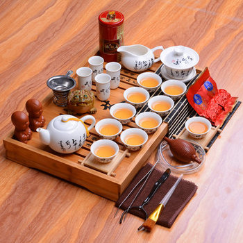 Dehua white porcelain tea set ceramic chinese kung fu tea set solid wood tea tray Whole tea set 33 pieces