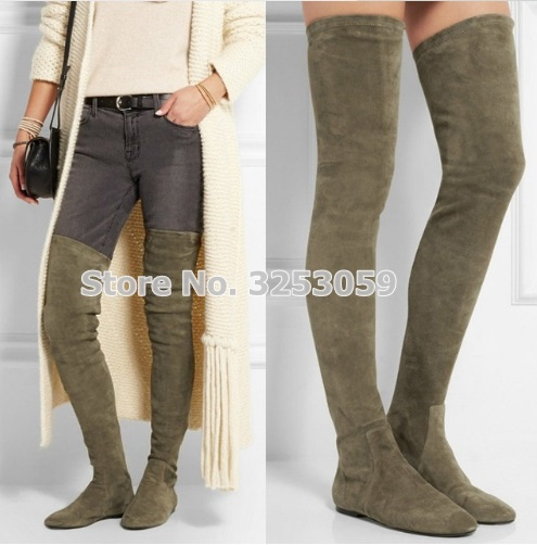 ALMUDENA Women Classic Stylish Flat Over-the-knee Boots Strestch Suede Skinny Thigh High Long Boots Knight Dress Boots Shoes недорго, оригинальная цена