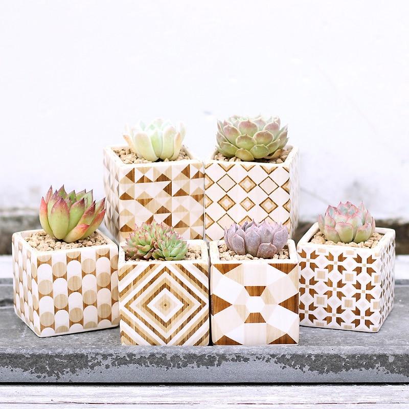 Set of 6 Golden Flowerpots Wood Grain Design Ceramic Succulent Plant Pot Porcelain Desktop Cactus Bonsai
