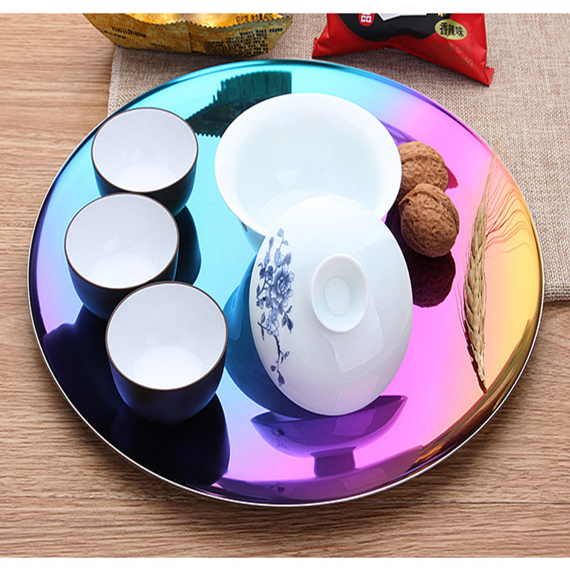 Stainless Steel Tray Gold Storage Tray Metal Round Tray Color Titanium Storage Fruit Plate Copper Decoration 3
