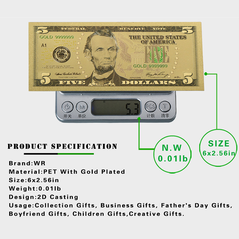 WR USD 5 Dollar 24k Pure Gold Fake Money Birthday Souvenir Gifts Banknote Art Crafts With Showing Stand For Home Decor In Banknotes From