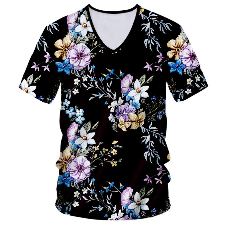 1e0e7d8d0681 CJLM Men S V Neck Tshirt Dropshipping Customized Print Flower ...