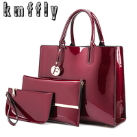 High Quality Patent Leather Women Handbags Luxury Solid 3 Sets Ladies Composite Bag Fashion Trunk Bags