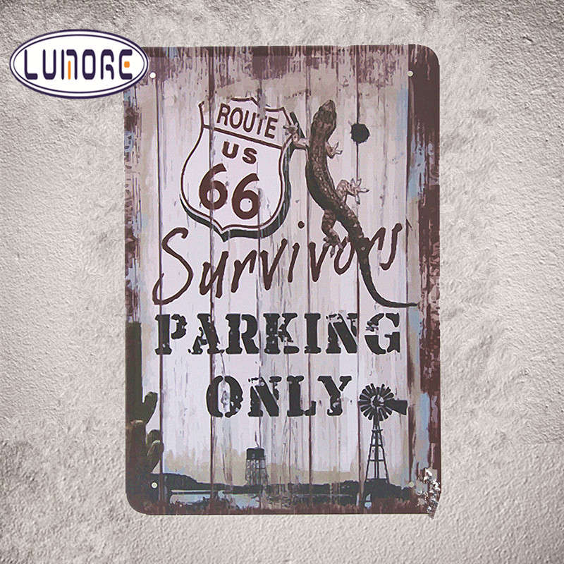 Vintage Metal Poster Cool Route 66 Survivors Parking Only Tin Sign