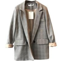 Women Blazer Brown Plaid Pockets Buttons 2019 Korean Retro Suit Jacket Women's Loose Leisure Feminino Office Lady Notched