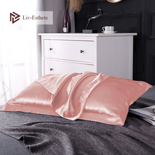 Liv-Esthete 100% Nature Mulberry Satin Silk Luxury Pillowcase Wholesale Queen King 19 Color Silky Healthy Square Pillow Case