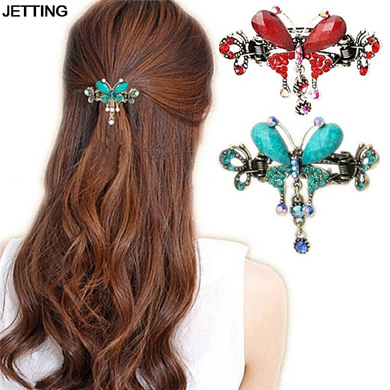 1Pc Women Turquoise Butterfly Flower Hairpins Vintage Hair Barrettes Clip Crystal Butterfly Bow Hair Clip Hair Accessories